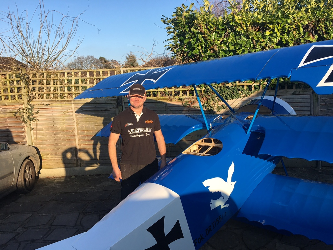 Steve Carr with his Fokker DR1