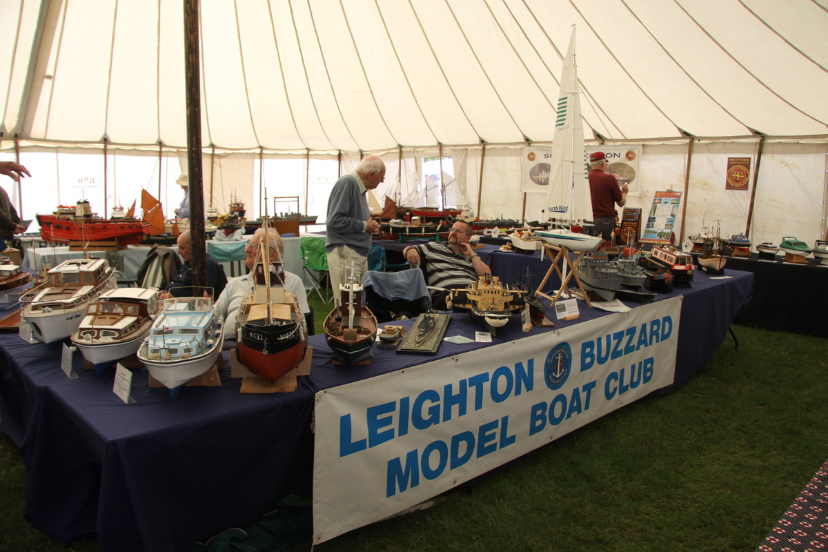 The Leighton Buzzard Model Boat Club's stand in the marquee