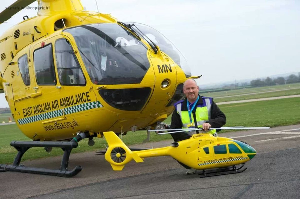 Brett Houghton with East Anglian Air Ambulance model